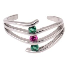 92.5 Sterling Silver Toe ring Layered Design Studded With  Green Onyx and Pink Tourmaline stones (Pair)