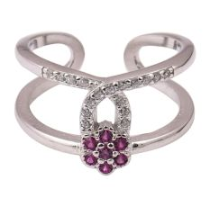 Pink Tourmaline Floral 92.5 Sterling Silver Toe Ring Decorated with tiny American Studs (Pair)