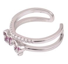 Twin Flower 92.5 Sterling Silver Toe Ring Adjustable Studded With Pink Tourmaline And American Diamond (Pair)