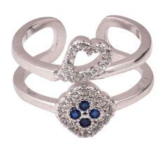 92.5 Sterling Silver Toe Ring Heart Floral American Diamond Tanzanite Modern Jewelry