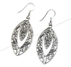 Oval Almond Shape 92.5 Sterling silver Filigree Earrings