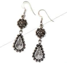 92.5 Floral Stud Oval Drop Engraved Filigree Dangler Earrings