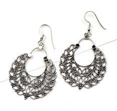 Tribal 92.5 Sterling Silver Earrings Shiny filigree Bali drop Earrings