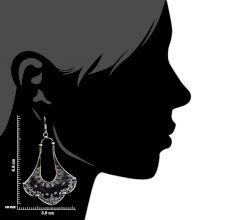Tribal Petal Design 9.5 Sterling Silver Earrings  Embossed Danglers
