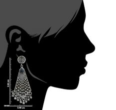 92.5 Sterling Silver Earrings Triangle Embossed with Silver Beads Hangings