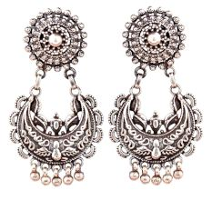 Floral Chandballi 92.5 Sterling Silver Earrings With Engraved Design And Silver Bead Hangings