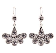 Six Petal Floral 92.5 Sterling Silver Earrings Engraved Design Earring For Women