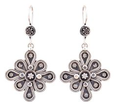 Eight Petals 92.5 Sterling silver Earrings Floral Embossed Danglers For Women