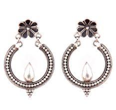 92.5 Sterling Siler earrings Chandbal With Diya And Floral Stud Danglers For Girls