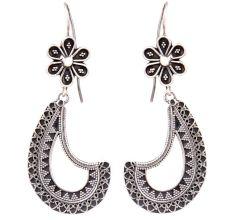 Oxidized 92.5 Sterling Silver Earrings Tribal Cut Engraved bands Dangler For Women