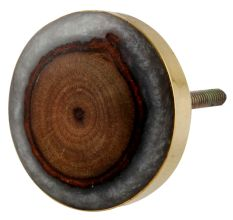Round Grey Resin And Wood Cabinet knob