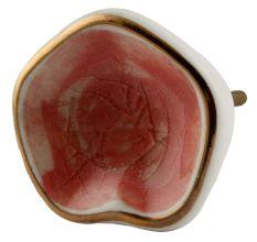 Pink Ceramic Dresser Knob in Silver Fitting