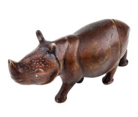 Hand Made Brass Hippo Animal Statue With Detailed Carving