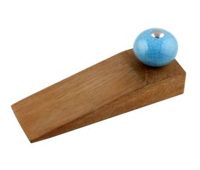 Sky Blue Crackle Ceramic Wooden Door Stopper