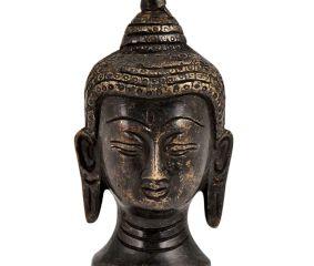 Black Brass Buddha Head Meditation Statue