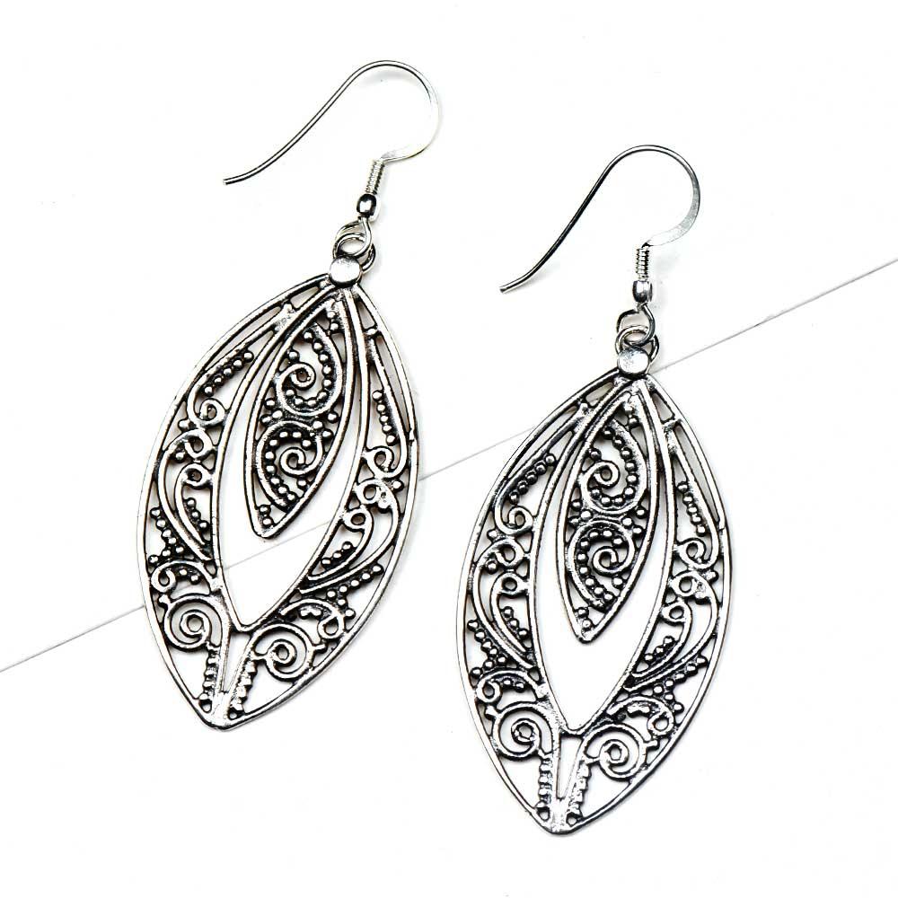 Oval Almond Shape 92.5 Sterling silver Filigree Earrings
