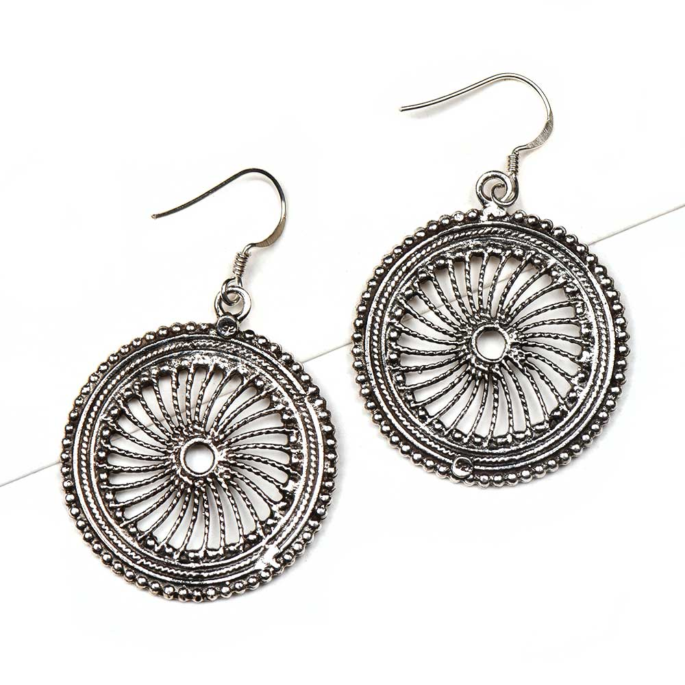 92.5 Sterling Silver Earrings With Wheel Filigree Round Dangler Earrings