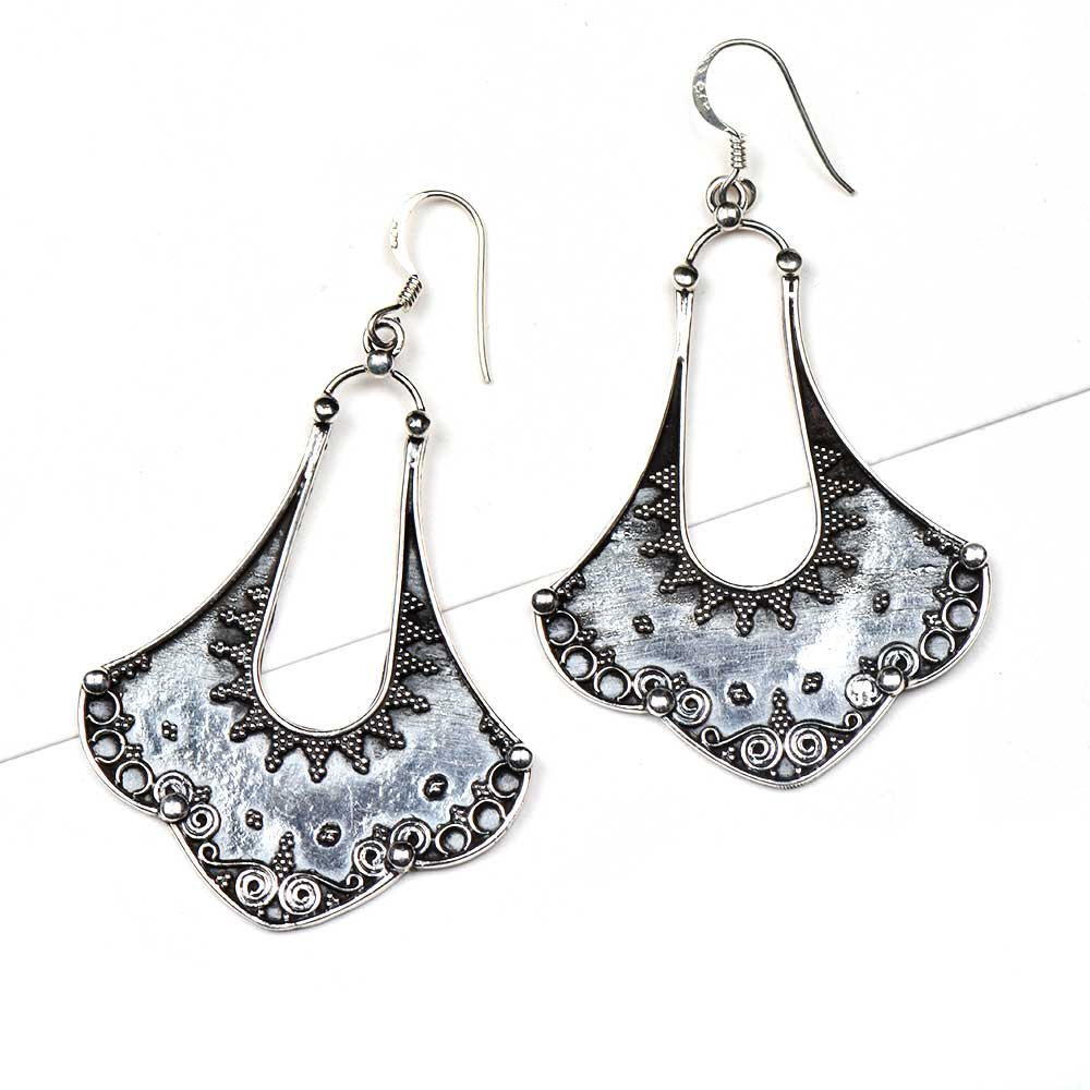 Tribal Petal Design 9.5 Sterling Silver Earrings  Embossed Danglers
