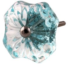Turquoise Square Glass Flower Cabinet Knobs