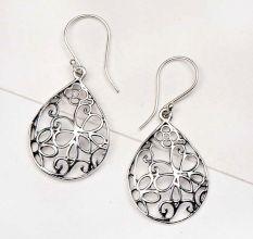 92.5 Sterling Silver Earrings Flower Filigree Design Oval Hook Earrings