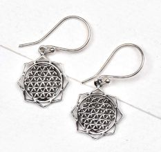 92.5 Sterling Silver Earrings in Floral Circular Sacred Flower Of Life Design
