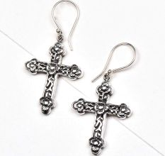Floral Cross 925 Sterling Drop Earrings For Women