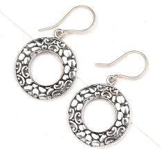 Fashionable Loop 92.5 Sterling Silver Earrings With Engraved Floral Design