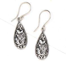 Oval 92.5 Sterling Silver Teardrop Floral Filigree Earrings