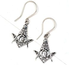 G Letter 92.5 Sterling silver Earrings Engraved Tribal Design Earrings