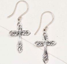 Holy Cross 92.5 Sterling Silver Earrings Celtic Knot Danglers For Women