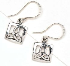 92.5 Sterling Silver Earrings Celtic Knot In Square knot Design