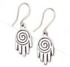 92.5 Sterling silver Earrings Small Spiral design Hand Charm Earrings