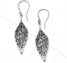 Long Autumn Leaf 92.5 Sterling Silver Earrings