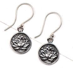 Oxidized Sun Flower Engraved 92.5 Sterling Silver Earrings