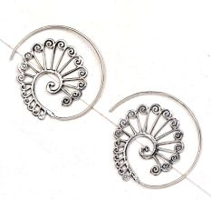 Peacock Circles Round 92.5 Sterling Silver Spiral Earring Tribal Hoop Earrings