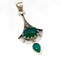 Green Onyx Gemstone 92.5 Sterling Silver Antique Handmade Pendant