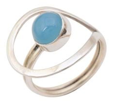 Blue Chalcedony Gemstone 92.5 Sterling Silver Antique Handmade Adjustable Male Female Ring