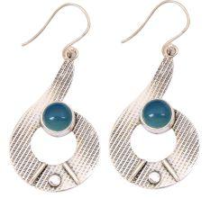 Blue Chalcedony Gemstone 92.5 Sterling Silver Antique Handmade Boho Female Dangle Earrings.