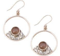 Rose Quartz  Natural Gemstone 92.5 Sterling Silver Antique Handmade Boho Female Dangle Earrings