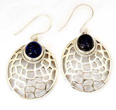 Blue Lapis Lazuli Gemstone 92.5 Sterling Silver Antique Handmade Cab Web Female Dangle Earrings