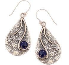 Blue Lapis Lazuli Gemstone 92.5 Sterling Silver Flower Texture Antique Handmade Female Earrings