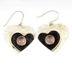 Rose Quartz  Gemstone 92.5 Sterling Silver Antique Handmade Heart Female Dangle Earrings