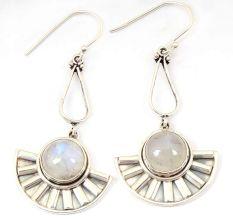 Natural Rainbow Moonstone Gemstone 92.5 Sterling Silver Handmade Female Dangle Earrings