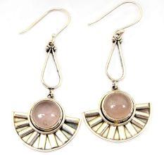 Natural Rose Quartz Gemstone 92.5 Sterling Silver Handmade Female Dangle Earrings