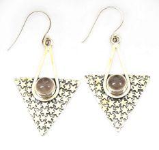 Rose Quartz Natural Gemstone 92.5 Sterling Silver Antique Handmade Female Dangle Earrings