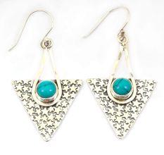Turquoise Natural Gemstone 92.5 Sterling Silver Antique Handmade Female Dangle Earrings