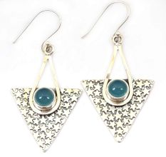 Blue Chalcedony Natural Gemstone 92.5 Sterling Silver Antique Handmade Female Dangle Earrings