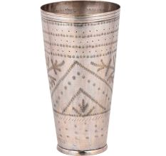 Brass Lassi Glass Cup  With Dotted Border and Leaves Design