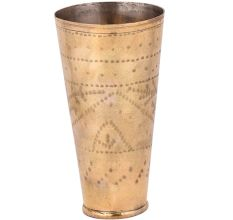 Geometric Dotted Design Brass Lassi Glass Cup  With Engraved leaves