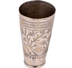 Hand Crafted Brass Lassi Glass Cup With Intricate Leafy Pattern And Border